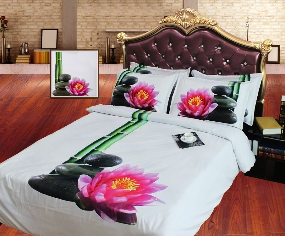 Simple JF 117 HD Digital Print 3D duvet covers twin full queen super king size bed sheets with bamboo flower pebble stones bedding New - Amazing best sheets for sleeping For Your Plan