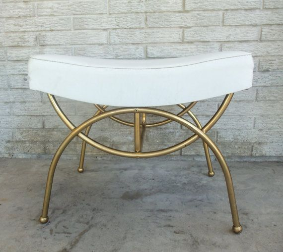 Vanity Bench White Vinyl Brass Color Metal Chair Seat Stool Dressing Room Bathroom Bridal Shop Vintage Mid Century Very Hollywood Regency Vanity Chair Bathroom Vanity Chair Mid Century Modern Vanity