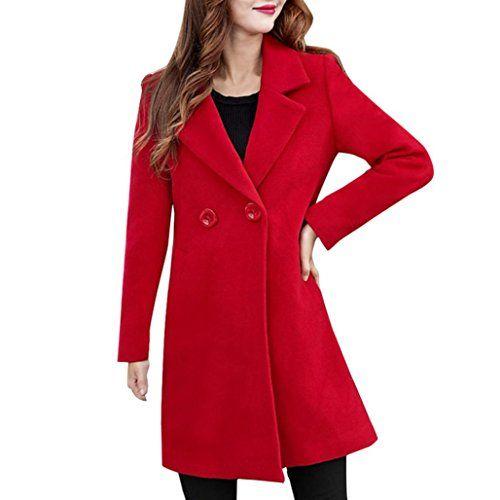 31ffd90345171 AIMEE7 Femme Cachemire Classique Mode Blazer Veste Manches Longues Casual  Chic Manteau (Rouge M)