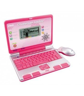 The VTech Challenger Laptop is a slim laptop with 40 curriculum-based activities that teach English, mathematics, music, and basic French in fun quiz show-styled gameplay! Share the fun with friends in 2-player mode. Features a progressive learning system that cuts study into manageable stages and an on-screen progress report. The real mouse and QWERTY keyboard help to develop essential early computer skills while making fun learning feel grown-up.