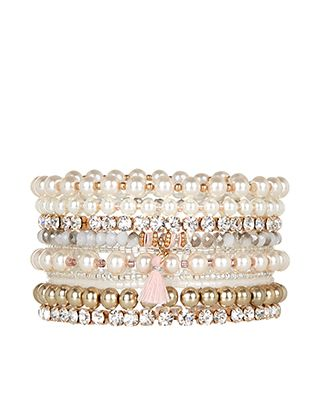 Pearl and Bead Stretch Bracelets / Accessorize