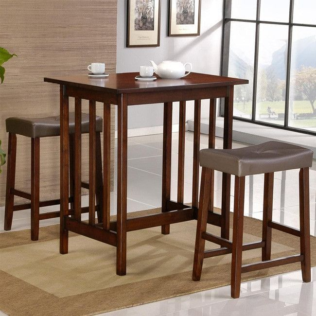 Cherry Finish 3 Piece Counter Height Dining Table & Chairs Set