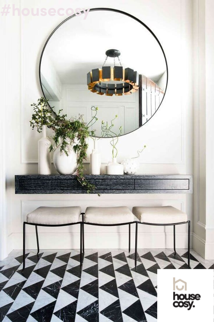How Big Can You Go With This Round Hallway Mirror Above Wall Hung Console Table Mirror Foyer Table Decor Dining Room Console Table Entryway Console Table