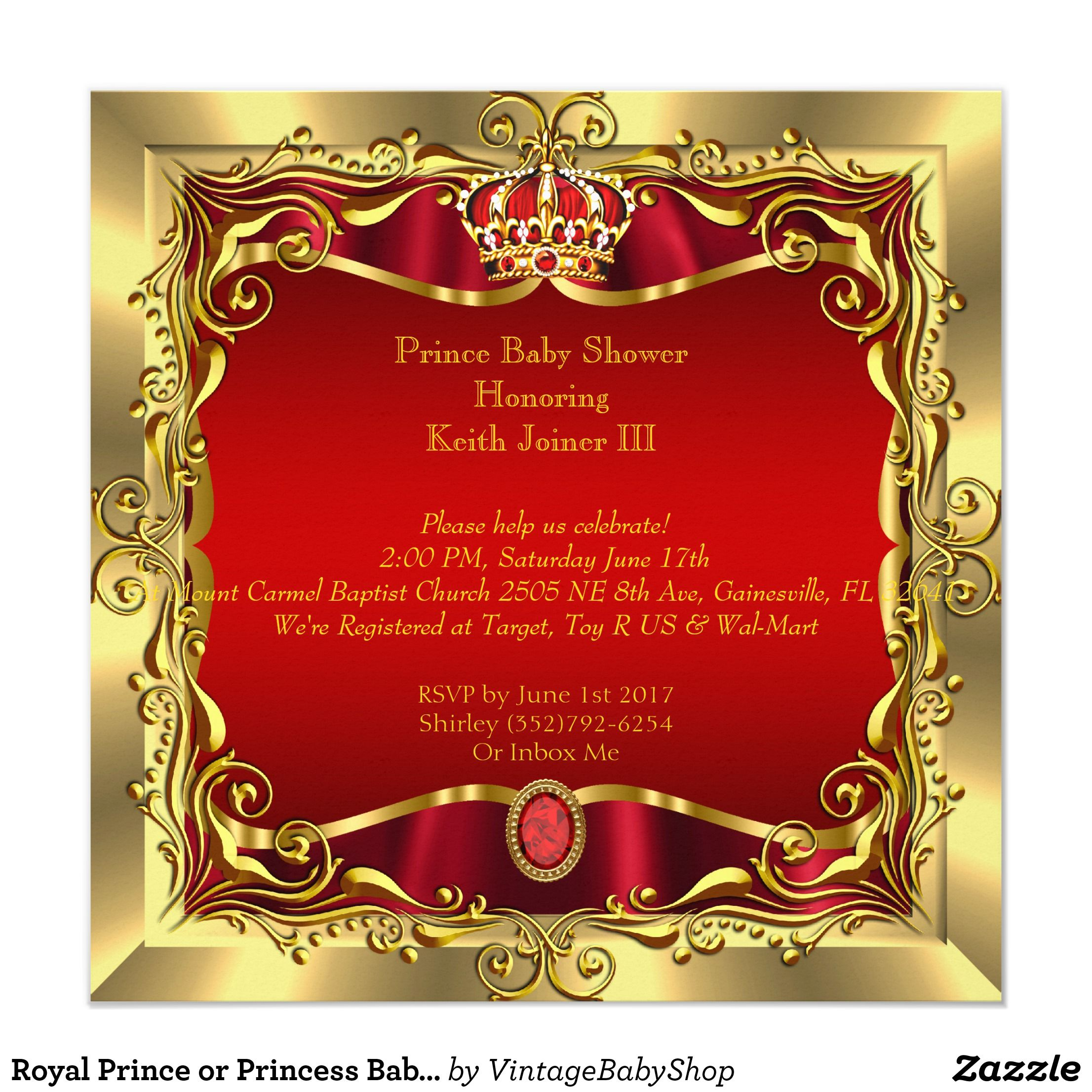 Royal Prince or Princess Baby Shower Red Gold Invitation | Pinterest ...