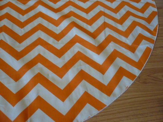 Orange Chevron Christmas Tree Skirt - FREE SHIPPING Orange and White
