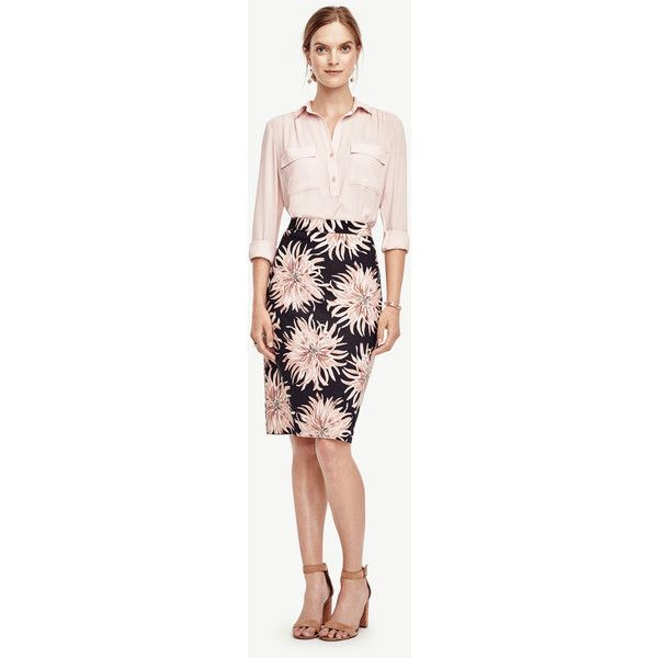 Ann Taylor Curvy Chrysanthemum Pencil Skirt ($60) ❤ liked on Polyvore featuring skirts, black, pencil skirt, long pencil skirt, ann taylor skirts, knee length pencil skirt and long skirts