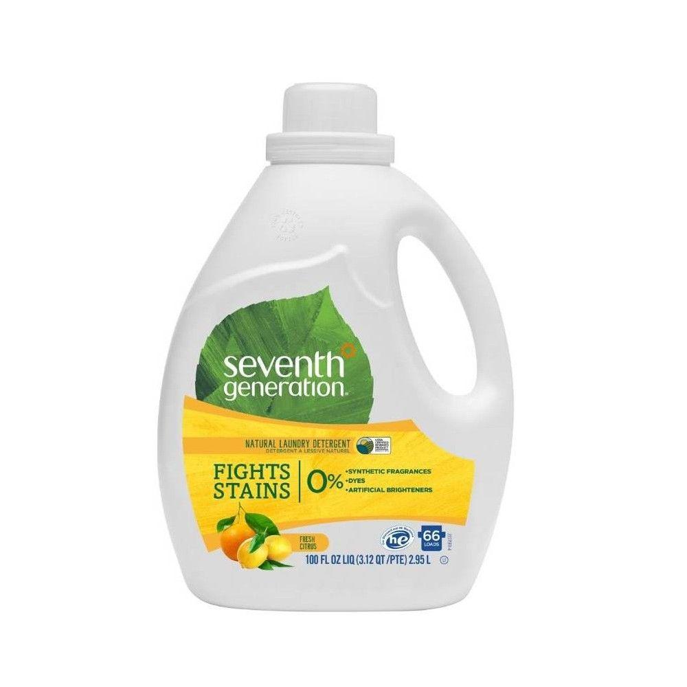 Seventh Generation Fresh Citrus Natural Laundry Detergent 100 Fl Oz Natural Laundry Detergent Laundry Detergent Natural Laundry