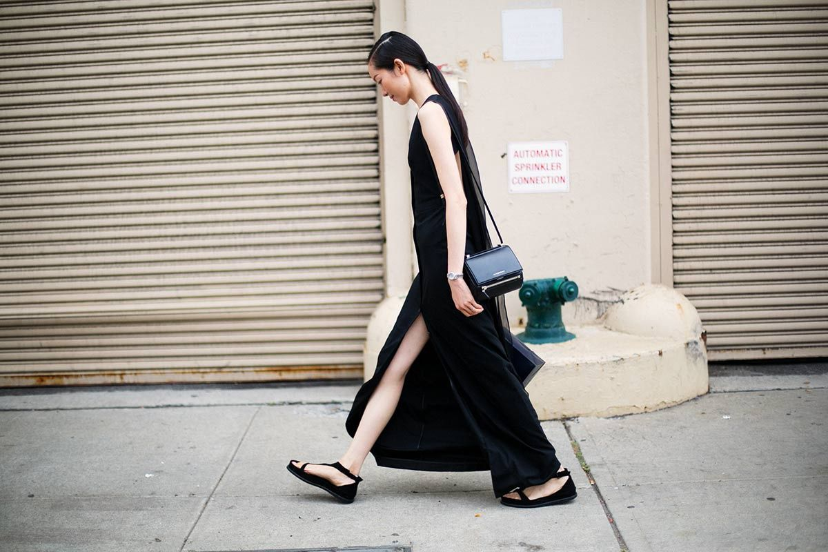 obsessed with this lovely fluid black dress and those sandals