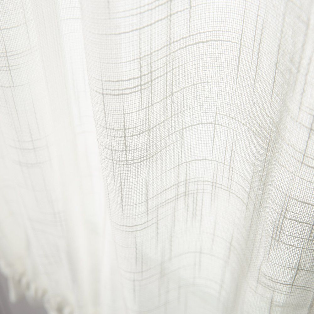 Linen Textured French Door Panel Curtains Open Weave White Sheer