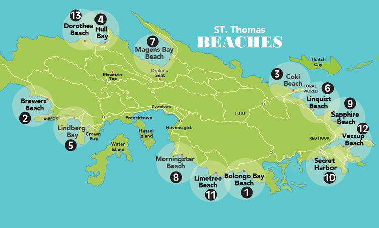 Beach Map St. Thomas USVI | St thomas vacation, St thomas ...