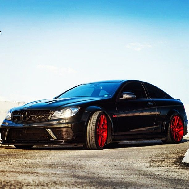 Exotic Mercedes All Black With Red Wheels