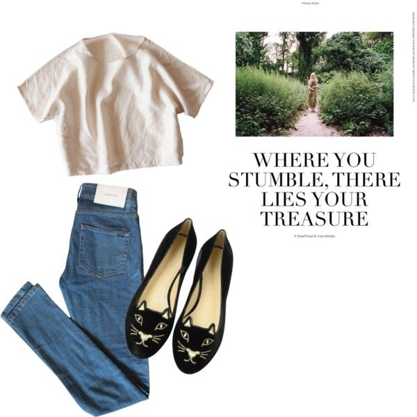 A fashion look from December 2016 featuring Surface To Air jeans and Charlotte Olympia flats. Browse and shop related looks.