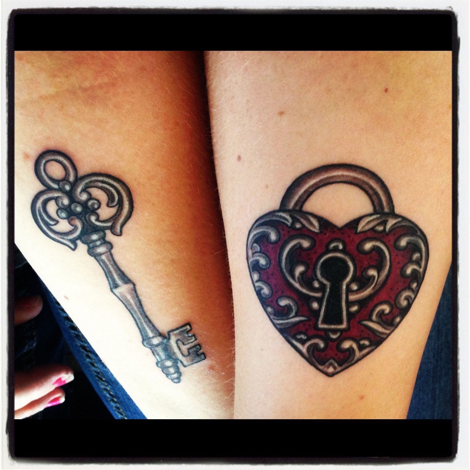 AWESOME!!! I've been debating on these two tats (key and lock) This is perfect!!!  best friend tattoo idea for me and MICKI (: