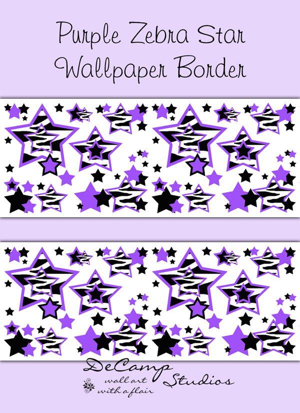 Purple Zebra Animal Print Star wallpaper border wall decals for teen ...