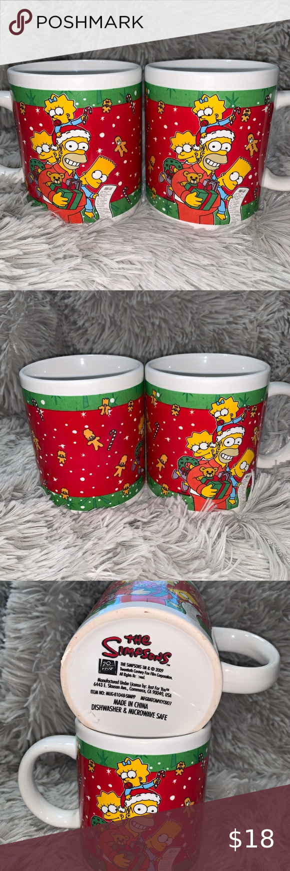 The Simpson Christmas coffee mugs classic simpsons in 2020