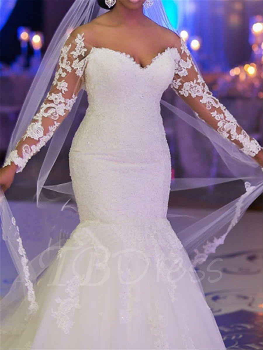 Appliques Mermaid Long Sleeve Plus Size Wedding Dress m