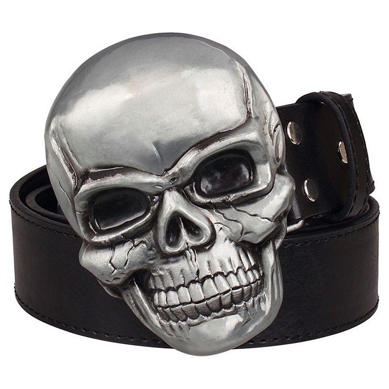 Men Women Big Gold Metal Belt Buckle Western Fashion Skeleton Skull Bone Smile