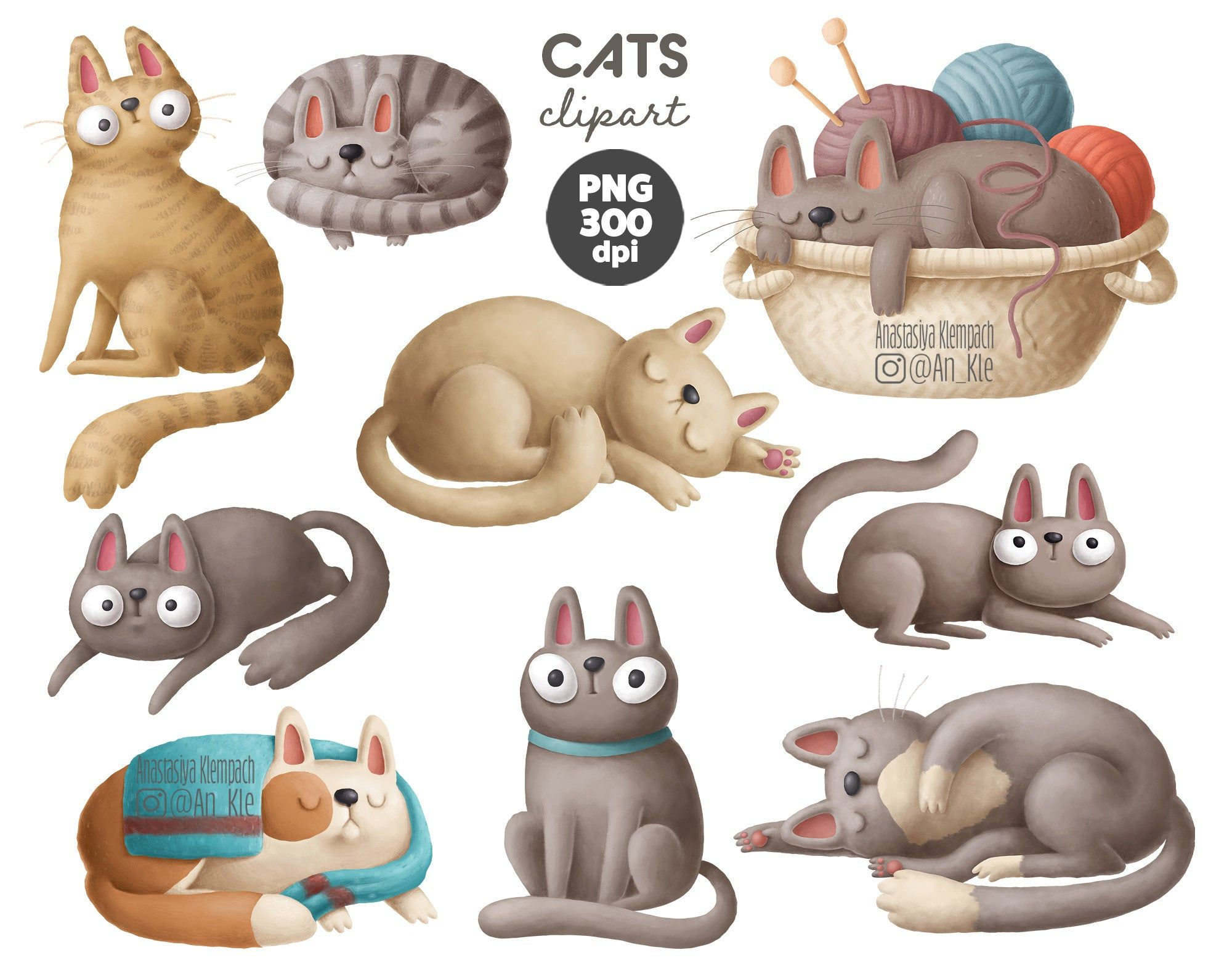 2020 Dog And Cat Christmas Commercial Cute funny cats clipart collection, instant digital downloadable