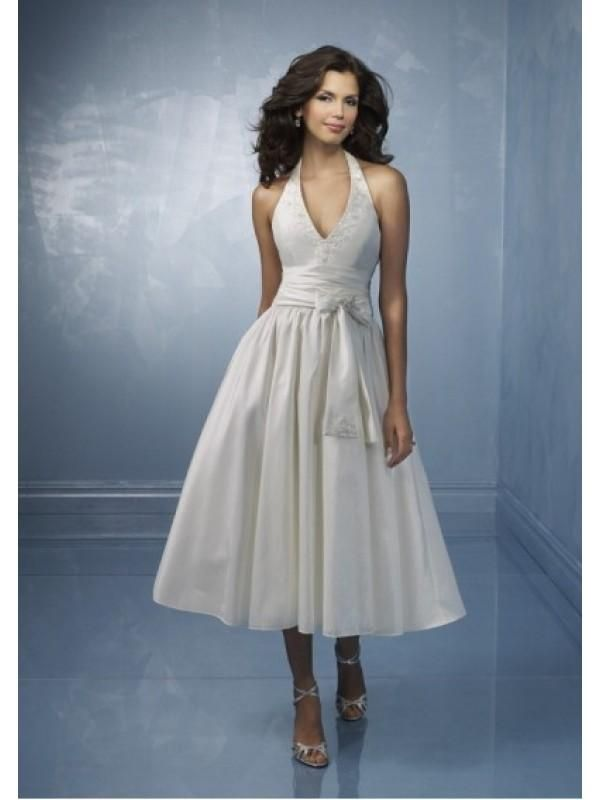 Short Halter Top Tea Length Wedding Dress