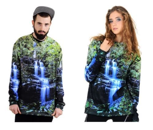 Womans Girls Mens Boys Long Sleeve OverSized Baggy Printed