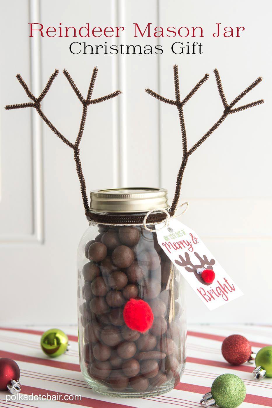 Reindeer Christmas Mason Jar Gift Idea   HOLIDAYS: Christmas ...