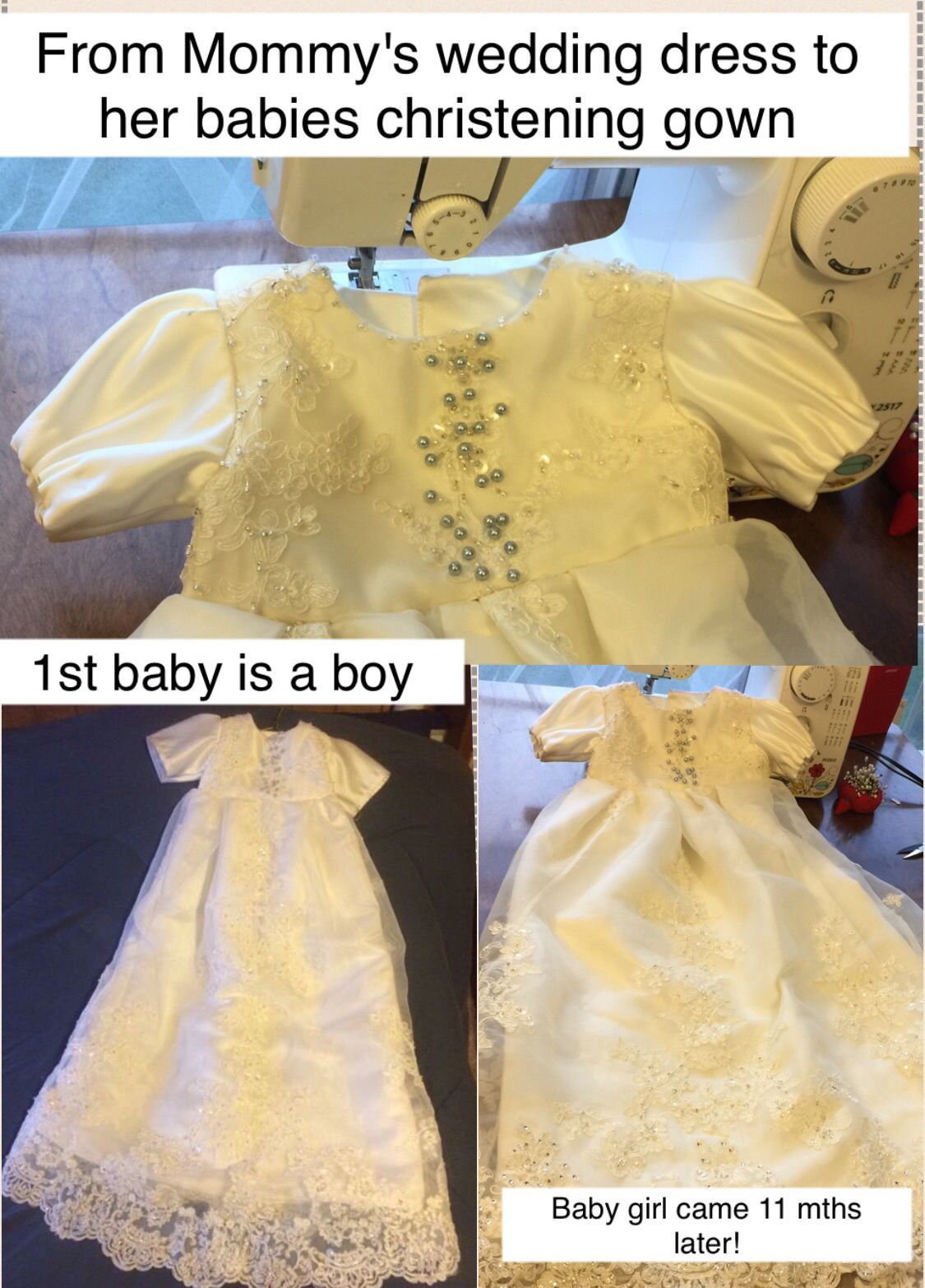 Wedding dress converted to christening gown made for baby boy