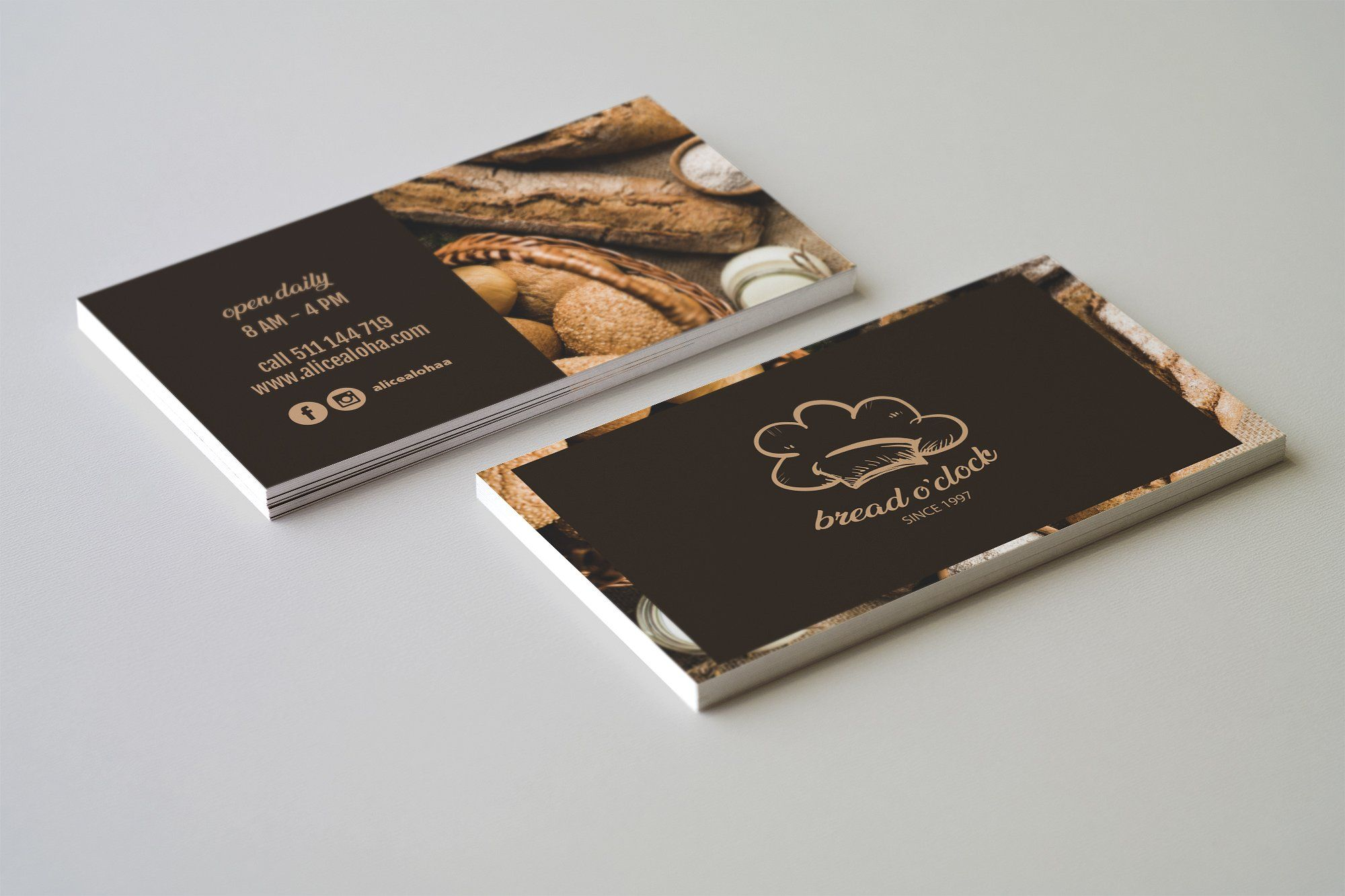 Bread O Clock Business Card Template Business Card Template Design Bakery Business Cards Business Card Template