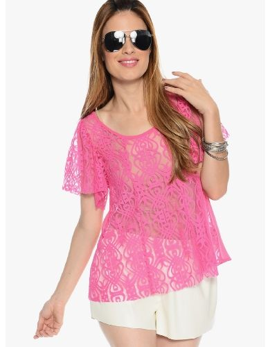 Candy Pink Classy Chic Short Sleeve Blouse | $10 | Cheap Trendy Blouses Chic Discount Fashion for W