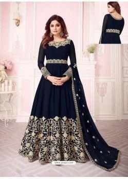 d5d1052771 Scintillating Navy Blue Embroidered Designer Anarkali Suit in 2019 ...