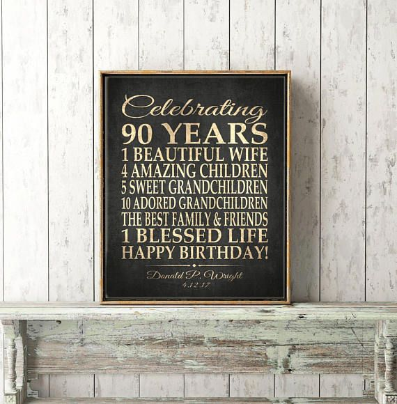 90th BIRTHDAY GIFT Sign Print Personalized Grandma Birthday Grandpa