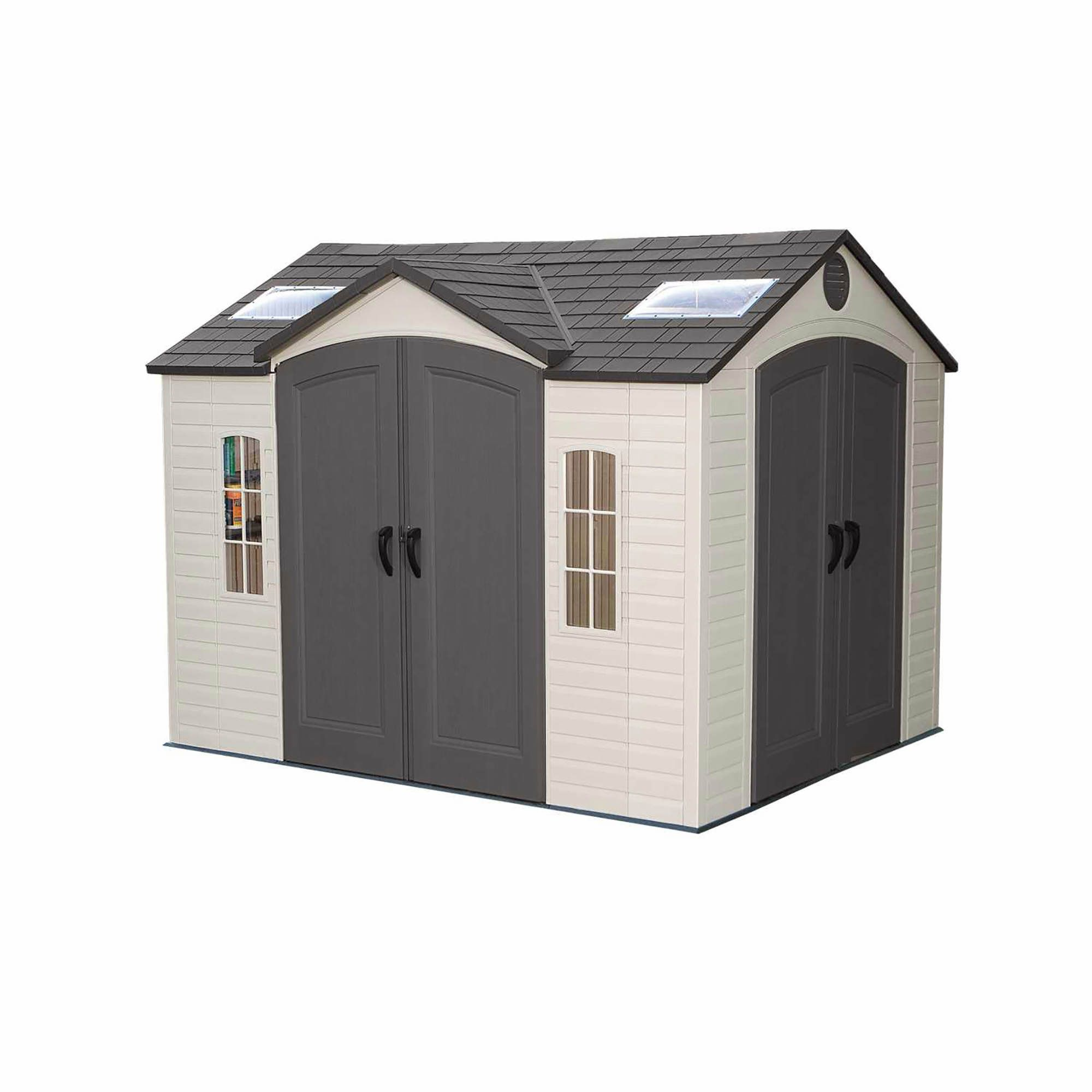 10 X 16 Vinyl Barn Black Metal Roof Barns Sheds Black Shutters