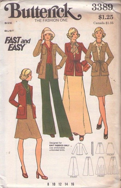 MOMSPatterns Vintage Sewing Patterns - Butterick 3389 Vintage 70's Sewing Pattern Fast & Easy Simple Knit Fabrics Cardigan Jacket, Skirt in 2 Lengths, Pants Size 12