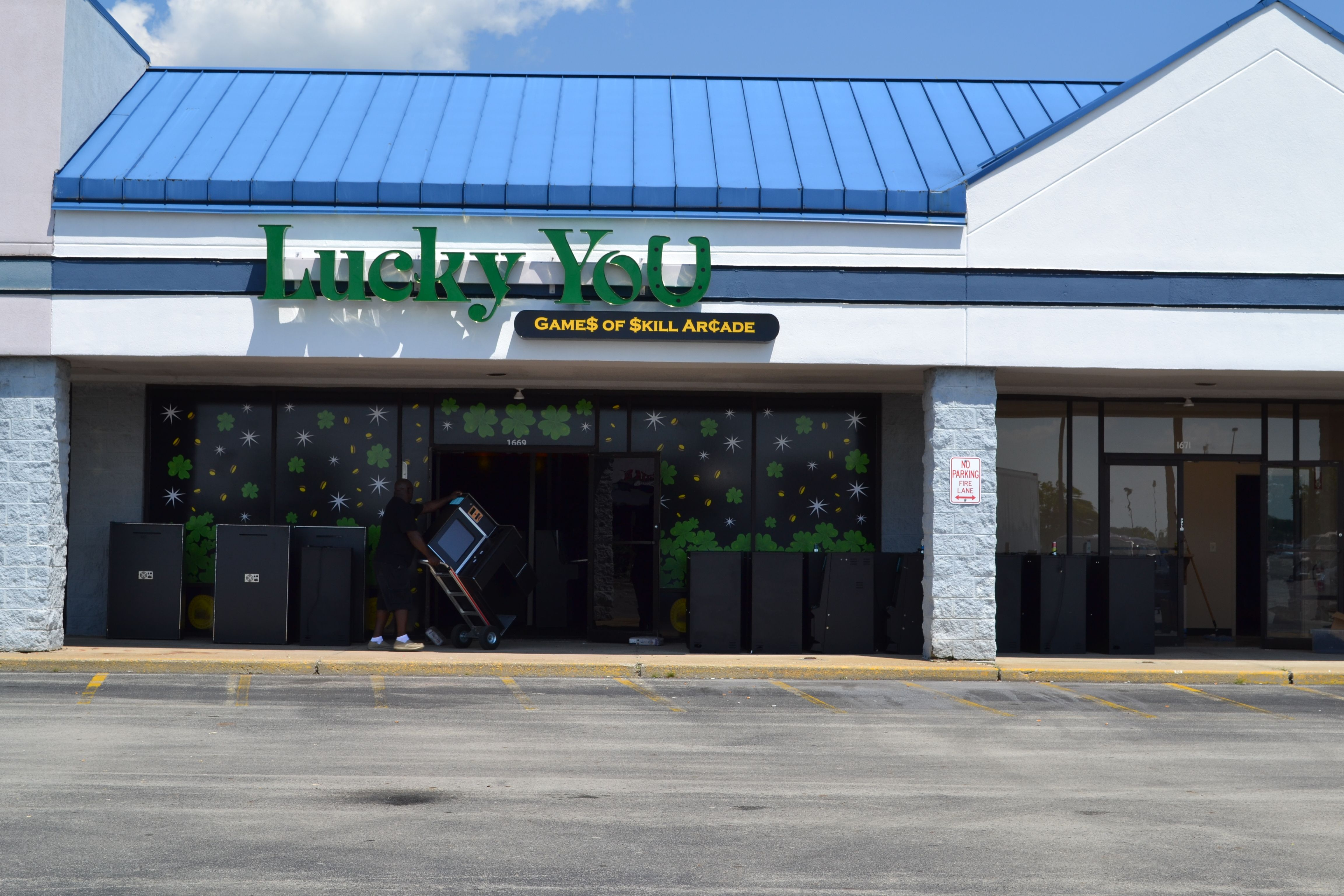 """A Positive Voice for Wilmington - Day 212 - A new business opens today at Noon. """"Lucky For You"""" opens its doors today in the old Krogers and Walmart Center. This is skilled Gaming, not sure if this is right for our community or not. I will wait and hold judgement based on the type of corporate citizens they become. I do feel that it is time to pass the licensing legislation that has been sitting in Council since March. They will have 100 machines. That would mean 11,000 dollars in fees."""