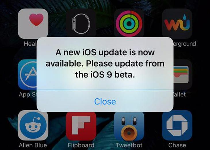 Developers getting iOS 9 update messages from the beta to GM, or