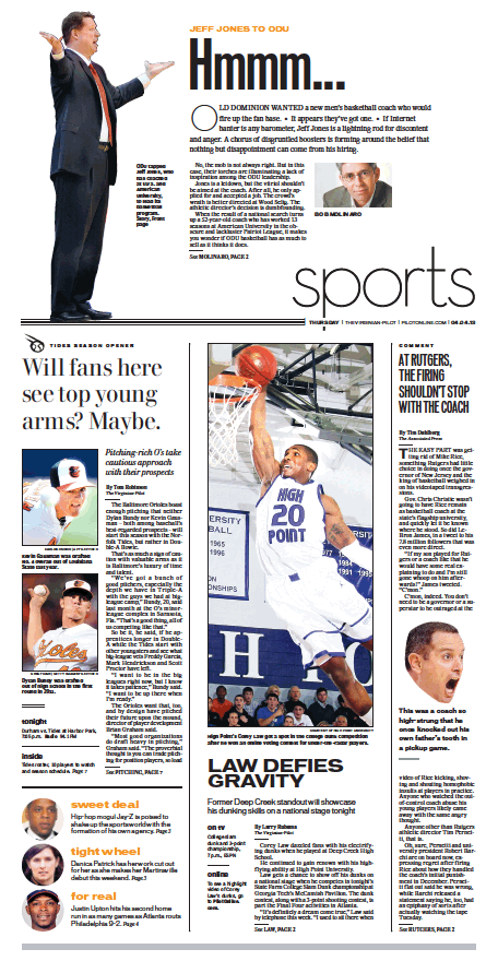 Sports, April 4, 2013. Virginian pilot, Newspaper design