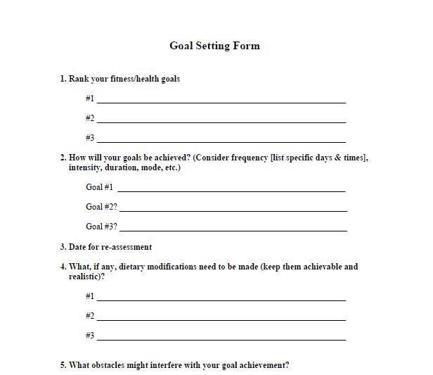 Fitness Goals Setting Forms Template That You Can Download And