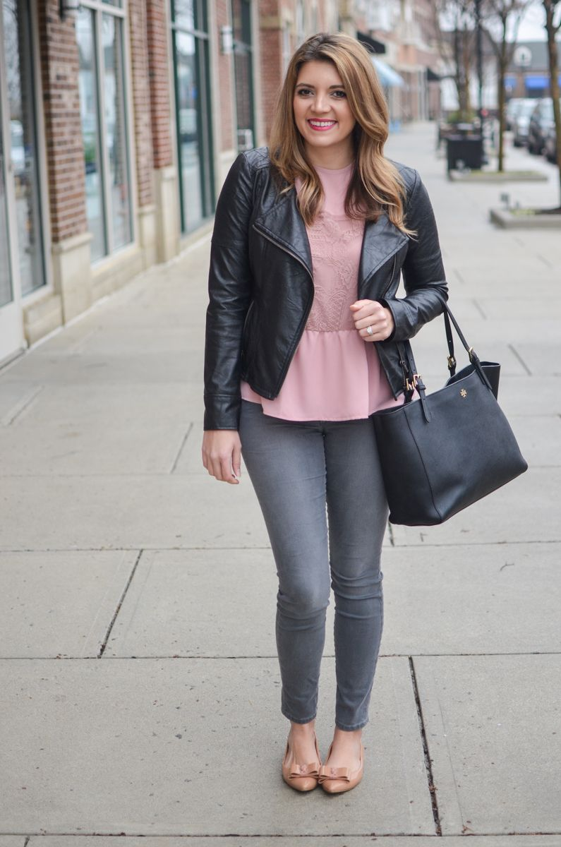 gray and pink outfit - pink lace ruffle top with gray jeans and black moto jacket. Click through to see more cute casual outfits or to shop this look! | www.bylaurenm.com