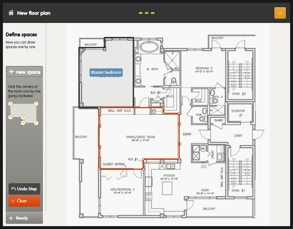 Appealing Floorplan Drawing By Smart Draw Floor Plan Displaying Master Bedroom With Master Bed Completed Dining