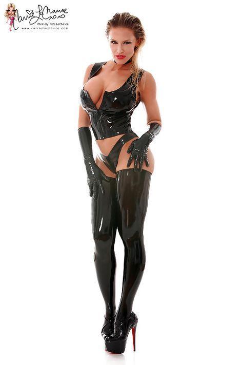 Brunette In Latex Lingerie Gloves Heels Stockings