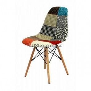Cadeira mix patch work com base de Madeira OR-1102B