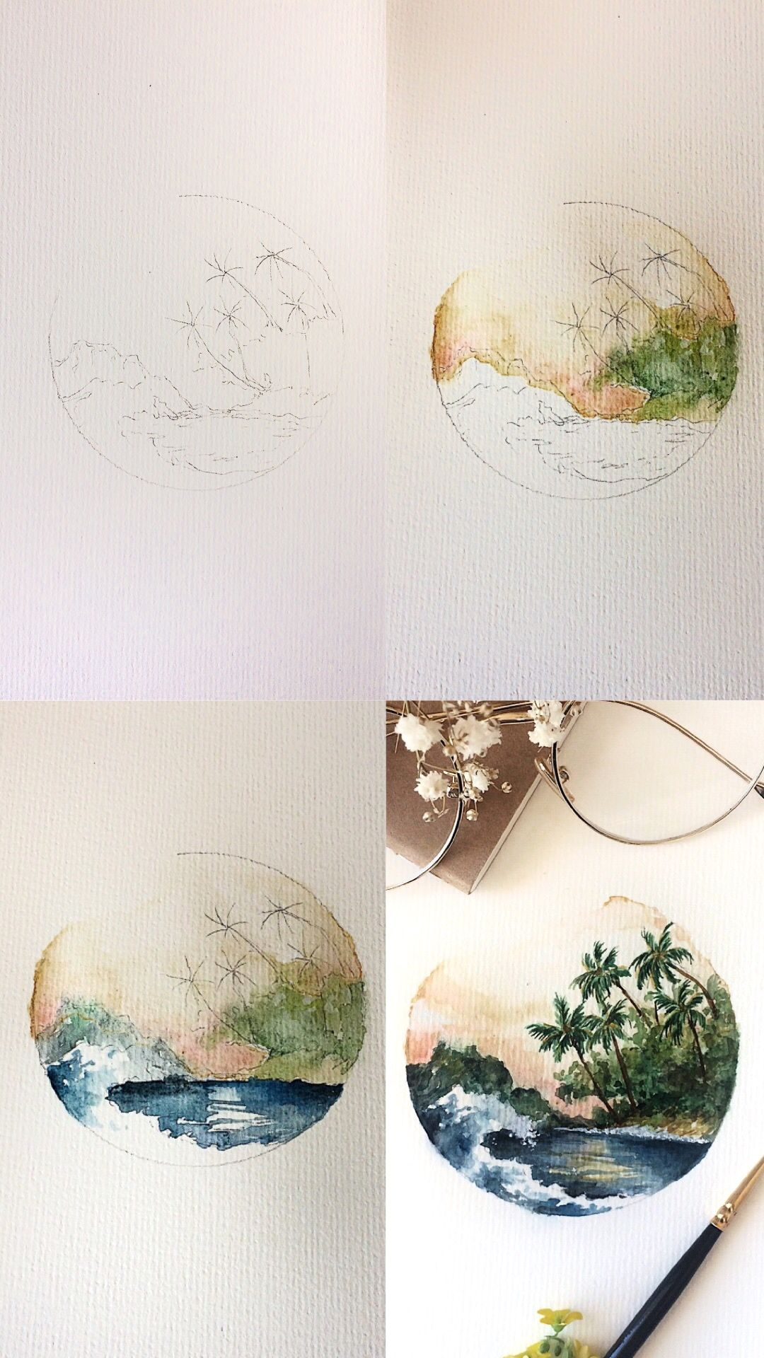 Tropical Circle Watercolor Painting Mini Tutorial Process Photos