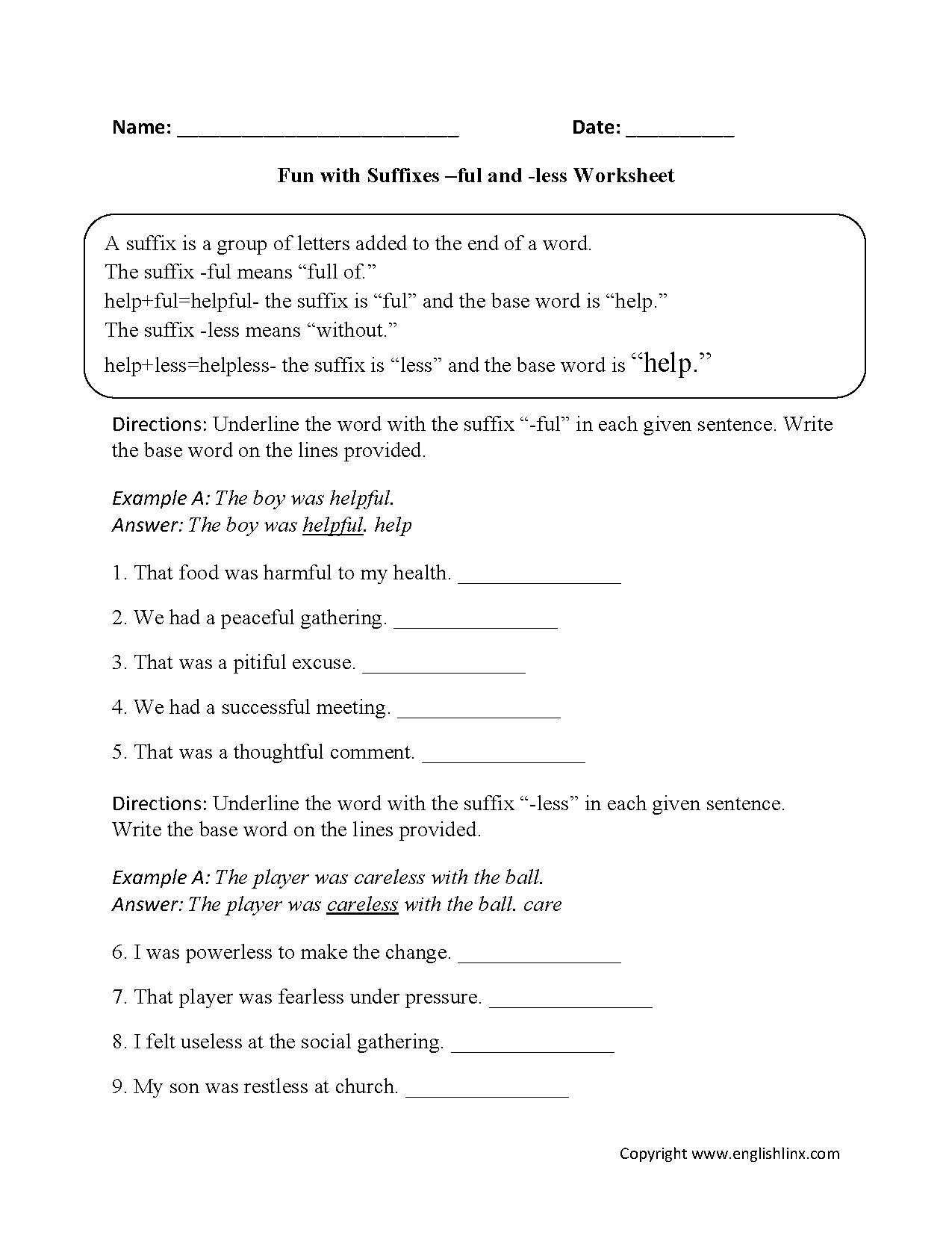 Fun With Suffixes Ful And Less Worksheets