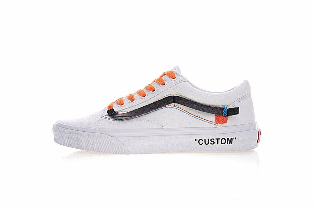 bff1a33e9b Off-White x Vans Old Skool Canvas White Black Orange VN-0D3NB99 ...