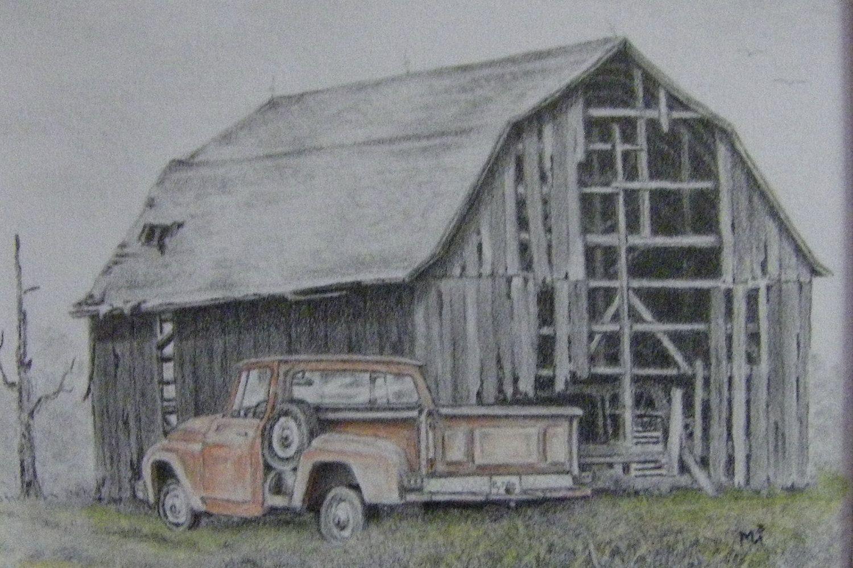 Old Farm Scenes Old Barn Art Illustration Original Pencil Drawing Red Pickup Truck Barn Drawing Pencil Drawings Barn Art