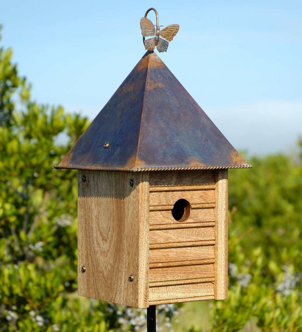 Homestead Mahogany And Copper Birdhouse In 2020 Wooden Bird Houses Bird House Plans Bird House