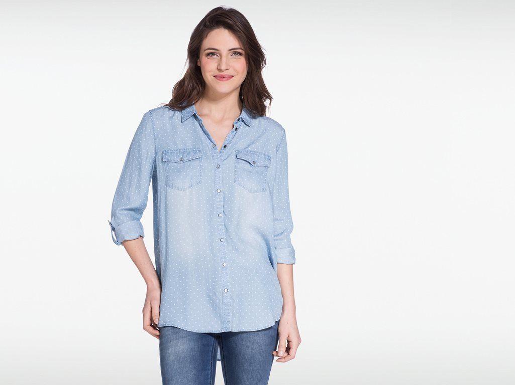 Chemise femme pois 2 poches