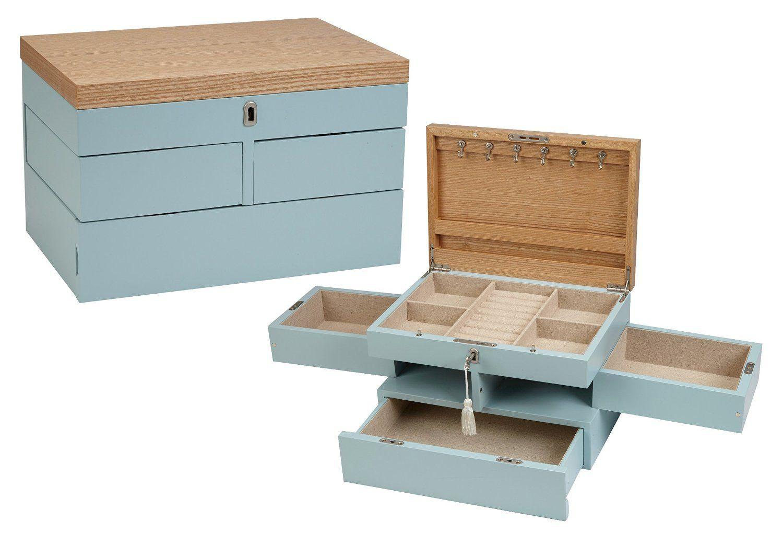 Seya Modern Fully Locking Wooden Jewelry Organizer Box Blue Amazon Ca Home Kitchen Jewelry Organizer Box Wooden Jewelry Jewelry Organization