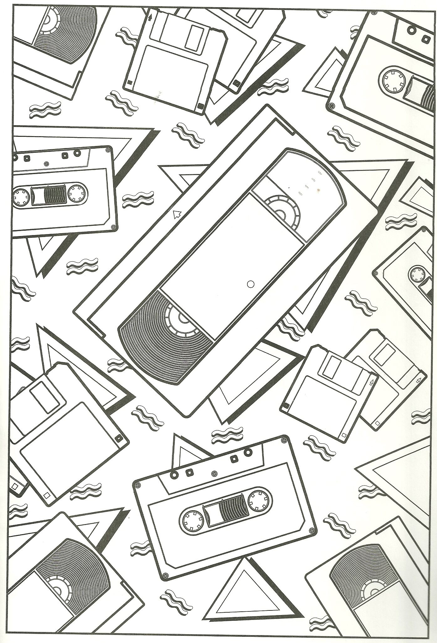 Floppy Disc Caasette And Vhs Tape Coloring Page