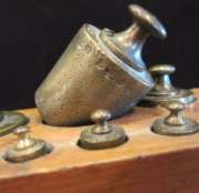 Antique Apothecary Brass Scale Weight Set