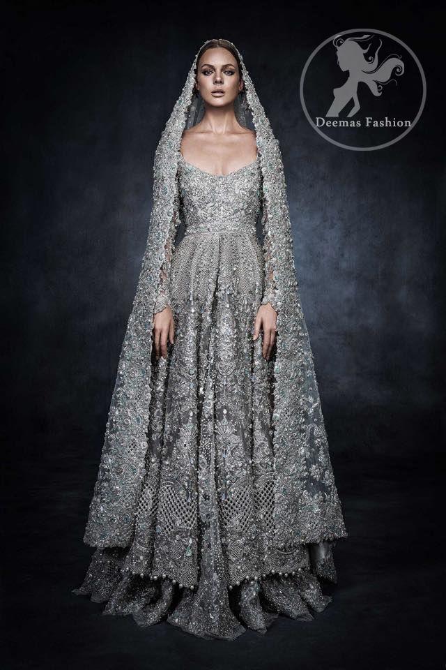 Dark Gray Bridal Wear Dress Anarkali Bridal Frock Embroidered